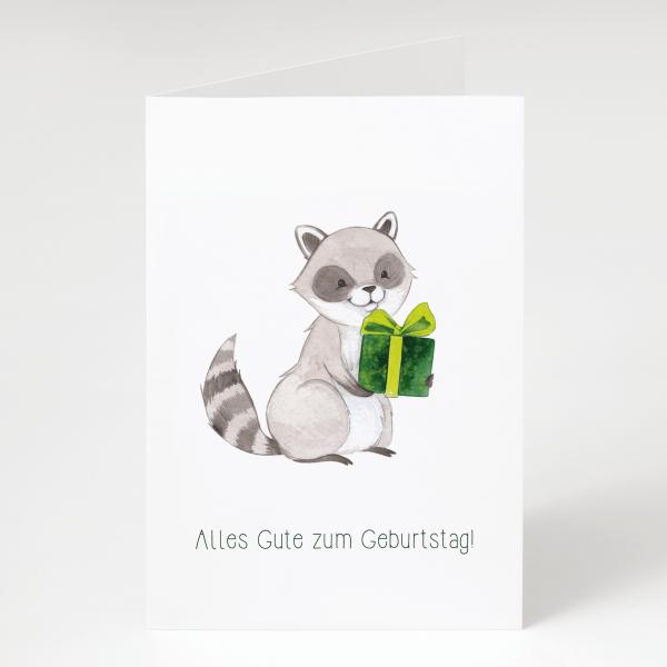 Waschbär mit Geschenk - Geburtstagskarte - Grußkarte