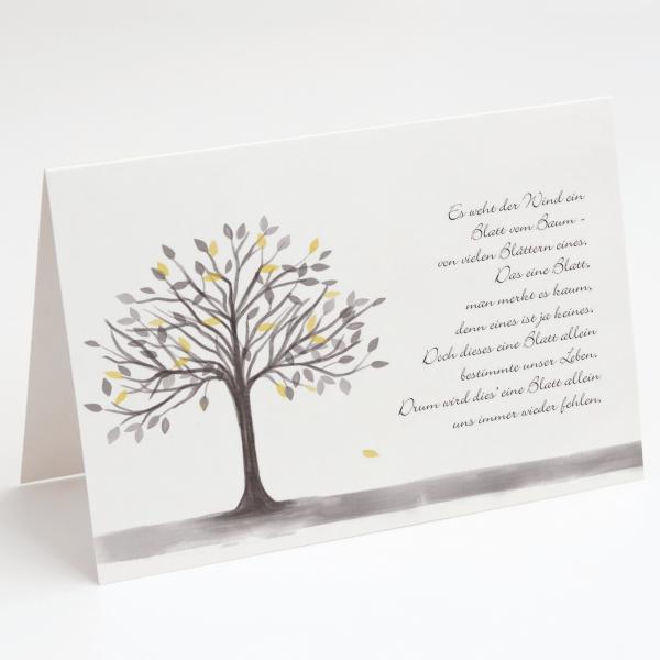Fallendes Blatt, Trauerkarte, Beileidskarte, Grußkarte, Glückwunschkarte