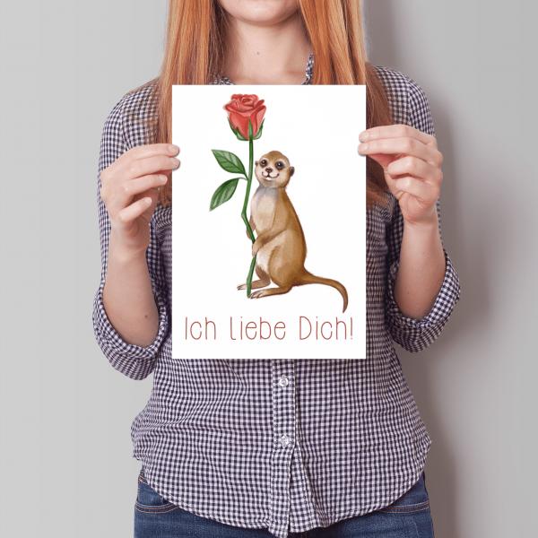 XXL Ich liebe Dich - Erdmännchen mit Rose - A4 - Geburtstagskarte - Grußkarte