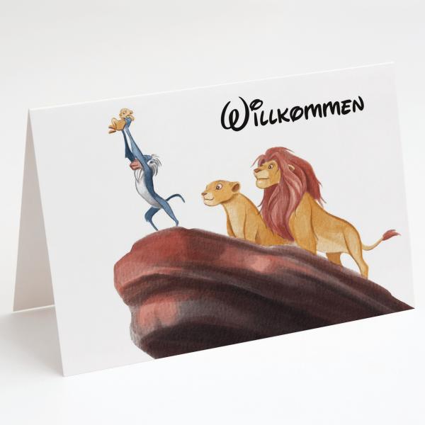 Willkommen Löwen Baby Simba - Geburtskarte - Löwen König - Grußkarte