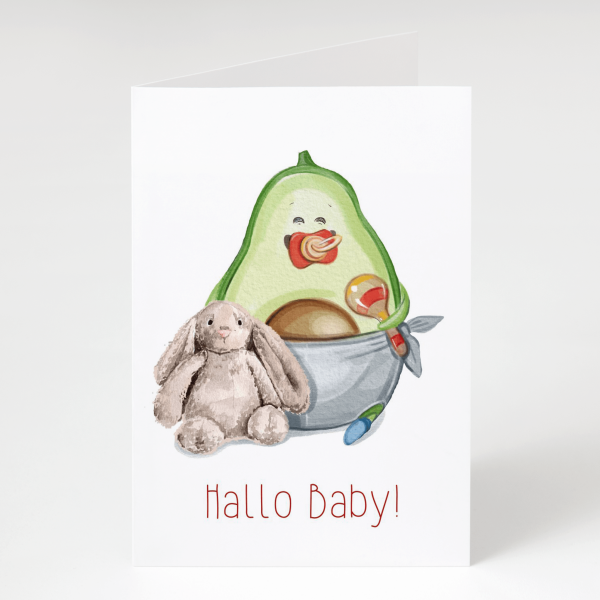 Hallo Baby - Avocado - Geburtskarte - Grußkarte
