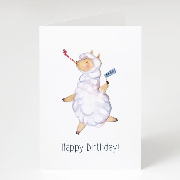 Lama - Geburtstagskarte - Grußkarte