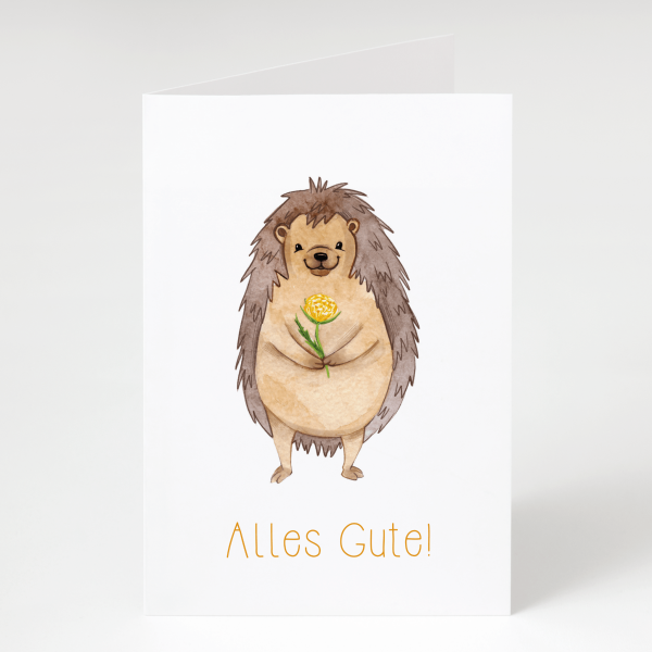 Igel mit Blume - Geburtstagskarte - Grußkarte