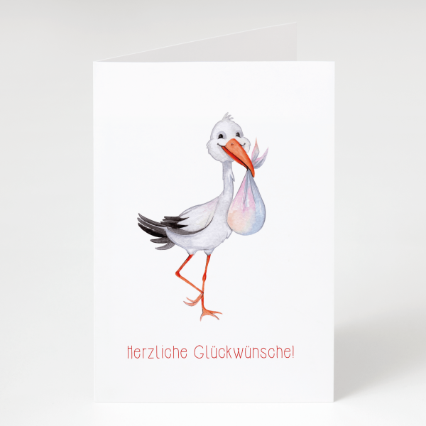 Storch - Geburtskarte - Grußkarte