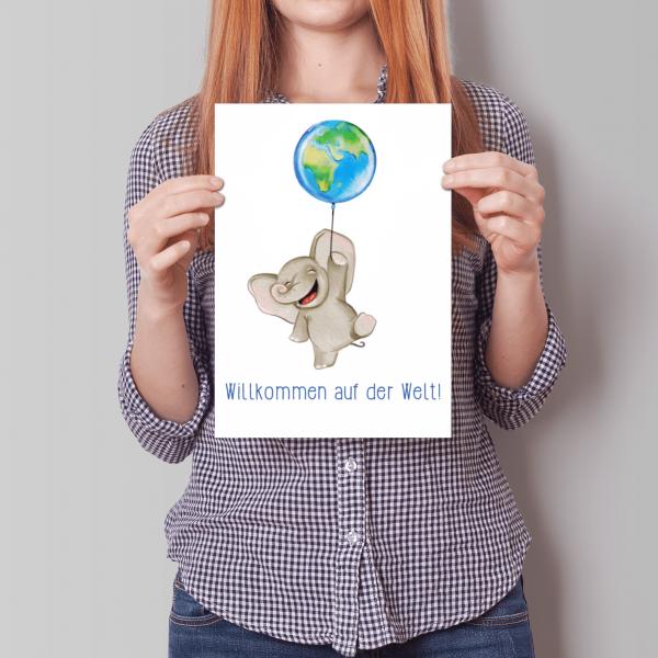 XXL Willkommen auf der Welt - Elefant mit Luftballon - A4 - Geburtstagskarte - Grußkarte