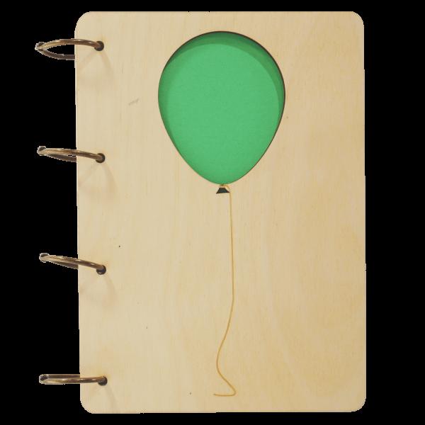 Luftballon - Notizbuch Holz