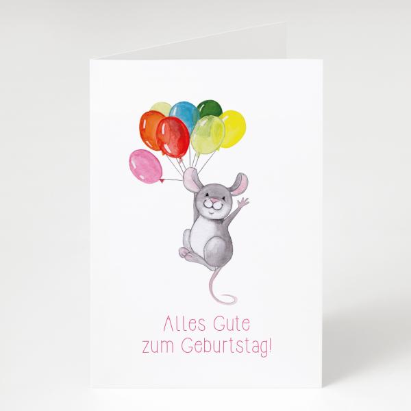 Maus mit Luftballons - Geburtstagskarte - Grußkarte