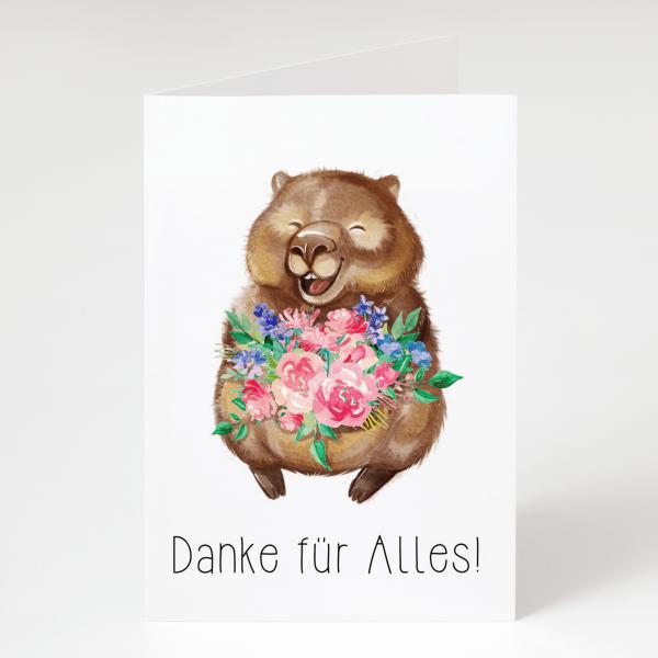 Danke für Alles - Wombat - Geburtstagskarte - Grußkarte