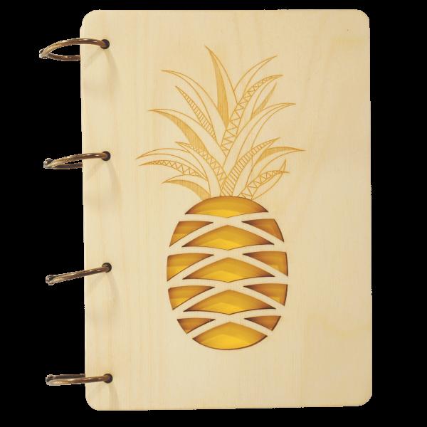 Ananas - Notizbuch Holz