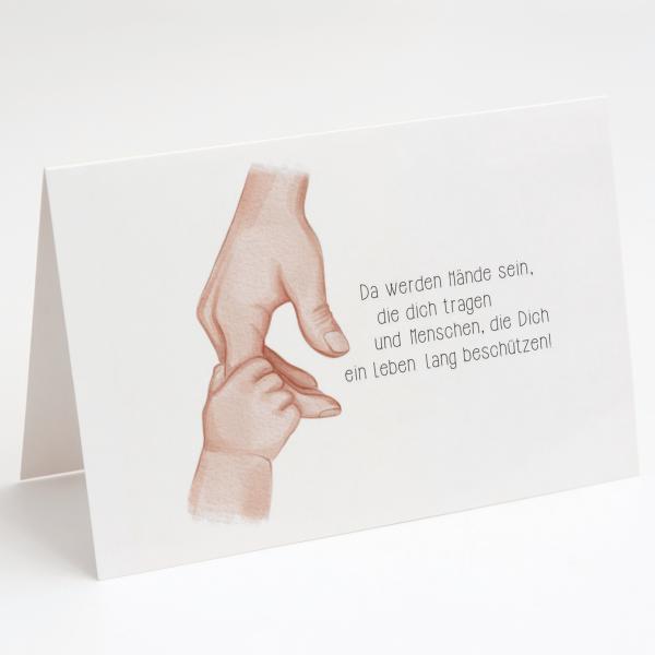 Baby Hand - Beschützen - Geburtskarte - Grußkarte