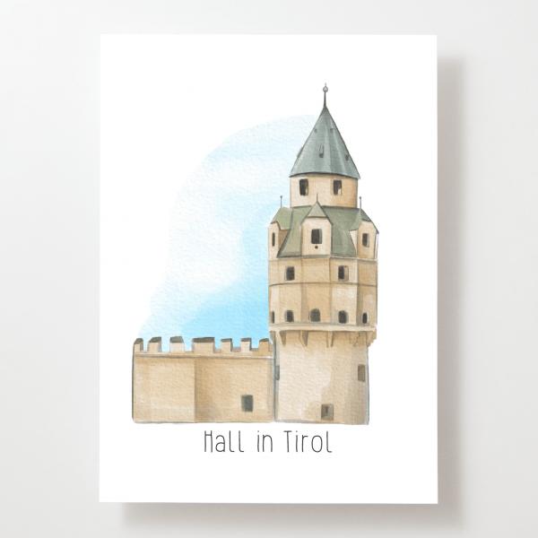 Münzerturm - Hall in Tirol - Postkarte - Tirol - Österreich-Copy