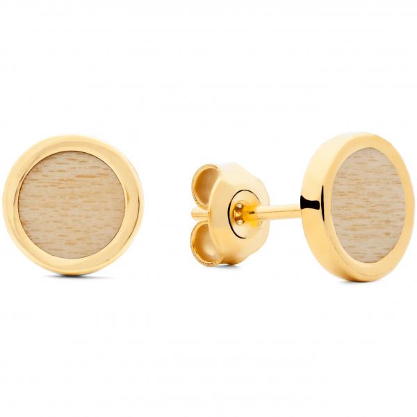 Ohrringe Gold Ahornholz
