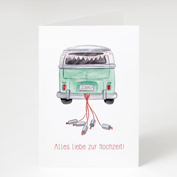 Auto - Hochzeitskarte - Grußkarte